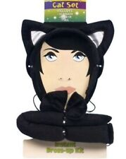 3 Piece CAT SET Tail Ears & Bow Tie Black Fancy Dress Hen Party Costume UK SELL