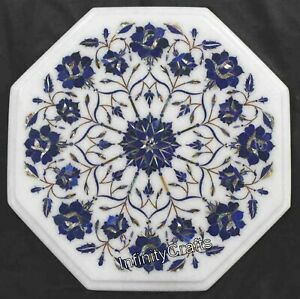 Lapis Lazuli Stones Inlaid Marble Side Table Top Octagon Coffee Table 12 Inches