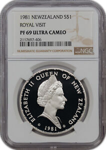 1981 NEW ZEALAND S$1 ROYAL VISIT NGC PF 69 ULTRA CAMEO NONE GRADED HIGHER!