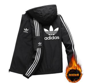 Adidas Men's fashion velvet padded jacket zipper top Clover hoodies sweatshirt