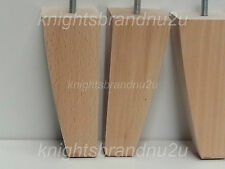 4x SOLID WOOD FEET FURNITURE LEGS FOR SOFA, CHAIRS, STOOLS, CABINETS & BEDS M10