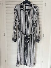 New M&S Marks & Spencer Monochrome Print Black Belted Midi Shirt Dress Size 18