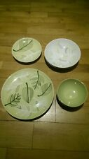Ikea 8 Piece Plate & Bowl Dining Set: Leaf Pattered BB