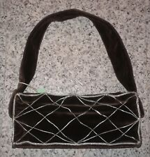 Elena Syraka Chocolate Brown Velvet Mesh Embellished Mini Handbag