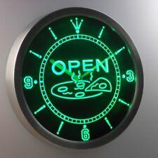 nc0329-g OPEN Pizza Shop Neon Sign LED Clock