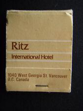 RITZ INTERNATIONAL HOTEL 1040 WEST GEORGIA ST VANCOUVER 604 6858311 MATCHBOOK