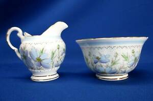 TUSCAN STAFFORDSHIRE ENGLAND BONE CHINA PLANT PATTERN BLUE FLOWER SUGAR & CREAME