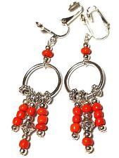 Red Earrings Chandelier Hoop Silver Clip-on Glass Bead Long Drop Dangle Clips