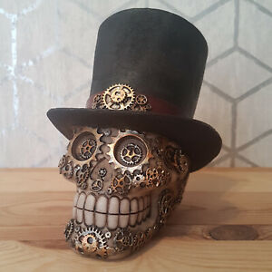 Skull Top Hat Ornament Steampunk Style Gothic Decorative Sculpture Figure New