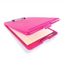 Slim Plastic Nursing RN Style Coaches Clipboard with Open Foldable Storage Pink