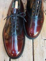 JOHNSTON MURPHY Mens Dress Shoe Burgundy Black Leather Saddle Oxfords Size 8.5C