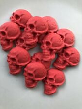 Edible Sugarpaste Cake Topper - Red Skulls X 12
