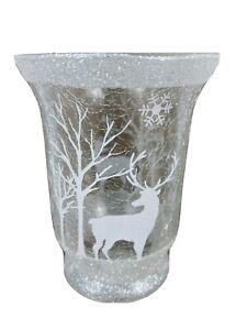Snowflake Crackle Medium Pillar Candle Holder Christmas Reindeer
