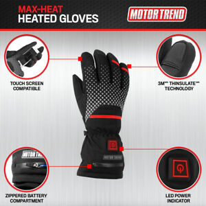 Heated Gloves for Motorcycles Ski Winter Sports Rechargeable by Motor Trend