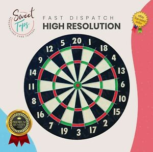 DART BOARD ROUND EDIBLE BIRTHDAY CAKE TOPPER DECORATION PERSONALISED