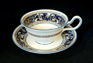 Beautiful Wedgwood Florentine Dark Blue Cup And Saucer