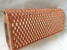 NEW ROSE CHAMPAGNE GOLD DIAMANTE SATIN EVENING CLUTCH BAG PURSE SHOULDER SALE