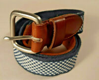 J.Crew Blue/White Gingham Check Plaid Fabric/Leather Casual Belt Men's Size 40