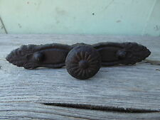 Rustic Cast Iron Handle Knob with back plate Farmhouse Cast Iron Cabinet Pull