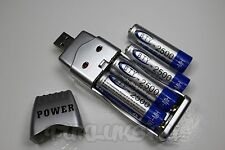 "4 PILES ACCUS RECHARGEABLE AA LR06 1.2V 2500mAh Ni-MH + CHARGEUR USB "" POWER """