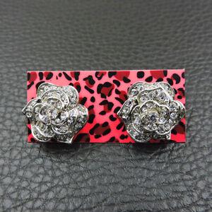 Betsey Johnson rare Alloy Rhinestone crystal Silver Flower Stud Earrings Jewelry