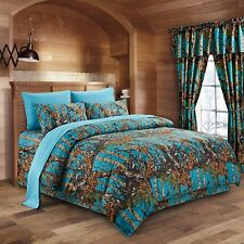 The Woods Camo Sea Breeze 12 piece Queen Comforter and Sheet Set and Curtains