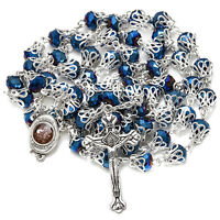 "Catholic Deep Blue Crystal Rosary Prayer Beads w/Crucifix & Holy Soil 23.5""/59.5"