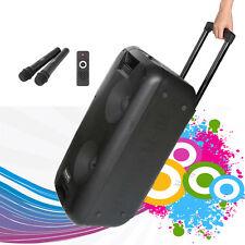 "2x10"" Inch Woofer Portable Bluetooth Powered PA System Speaker Karaoke 2 mics"