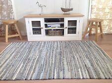 ❤️Blue Denim Cotton Rag Rug Finished Edge 150cm x 240cm Hand Loomed Flat Weave