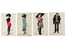 c1910 French Original Personalised Paris Fashion 4 Postcards