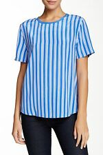 Equipment Riley in Amp Blue Stripe White Contrast Back Relaxed Silk Shirt M