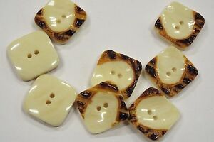 8pc 17mm Brown Cream Mock Bone Square Coat Knitwear Cardigan Baby Button 3168