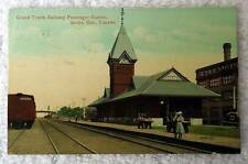 POSTCARD GRAND TRUNK RAILROAD TRAIN STATION DEPOT BERLIN ONTARIO CANADA #w99