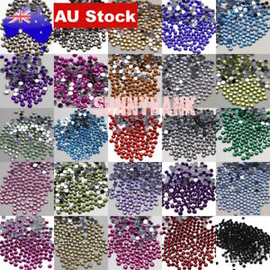 100-500 Crystal Rhinestones Non-HotFix Assorted Flat Back Nail Art Craft 2mm-6mm
