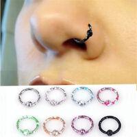 8pcs Seamless Hinged Segment Sleeper Ring Hoop Ear Lip Nose Septum Piercing Set