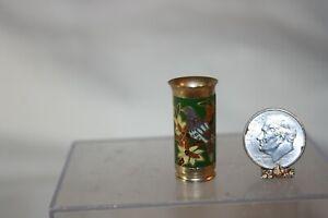 Miniature Dollhouse Brass Cloisonne Umbrella Stand 1:24 or Vase 1:12 w Bird NR