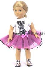 Zebra Tutu Skirt Set Fits 18 in American Girl Doll Clothes