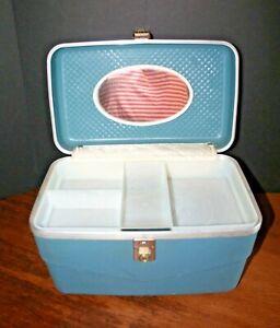VTG Train Make-up Case Suitcase Luggage w/ Tray CHENEY Hard Shell Blue NO KEY