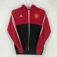 Manchester United Adidas Mens Track Jacket Red Hooded Full Zipper Pockets L