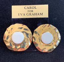 Vintage Carol For Eva Graham Hammered Gold Tone & White Enamel Clip Earrings