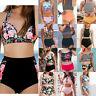 Womens 2PCS Floral High Waisted Swimwear Bikini Swimsuit Beachwear Bathing Suit