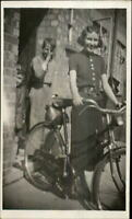 Girl Posing w/ Her Bicycle Boy Makes Funny Face Real Photo Postcard