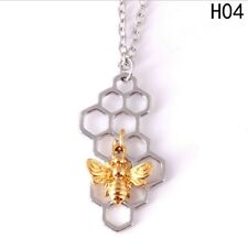 TWO TONE Silver & Gold Honey Bee Necklace Chain Pendant Bumble Insect Bug 3For2