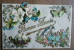 CPA celluloïd ajoutis découpis colombes hirondelles papillon fleurs fantaisie