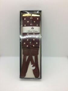 NIB Brooks Brothers Burgundy w/Ivory Polk Dots Silk Suspenders with Leather Fitt