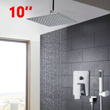 "Ceiling Mounted Bathroom Overhead Chrome 10""Rainfall Shower Faucet Kit Mixer Tap"