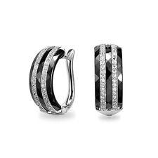 Ohrringe Echt 925 Silber mit schwarzer Hi-Tech Keramik Zirkonia Creolen