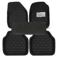 5Pcs Car Floor Mat Front & Rear Full Coverage Carpet Black Skidproof Leather