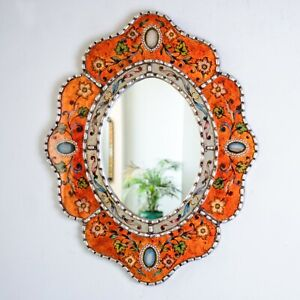 Orange Oval wall Mirror with silver leaf frame, Peruvian Reverse Painted Glass