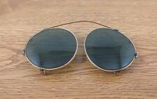VTG Green Tinted Round Clip On Sun Glasses Steampunk Olive Gold John Lennon Eye